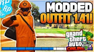 GTA 5 MODDED OUTFIT 1.41 * ORANGE/NAVY* 'GTA 5 MODDED OUTFITS 1.41' EASY Clothing Glitches!