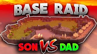 BASE BUILDING AND RAIDING WITH MY DAD | Roblox: Booga Booga