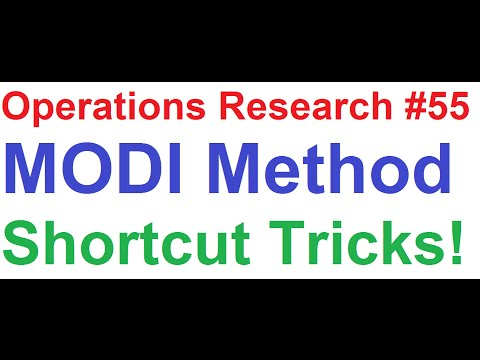 Operations Research Tutorial #55: MODI Method Explained in 3 Easy Steps + Shortcut Tricks [1of4]