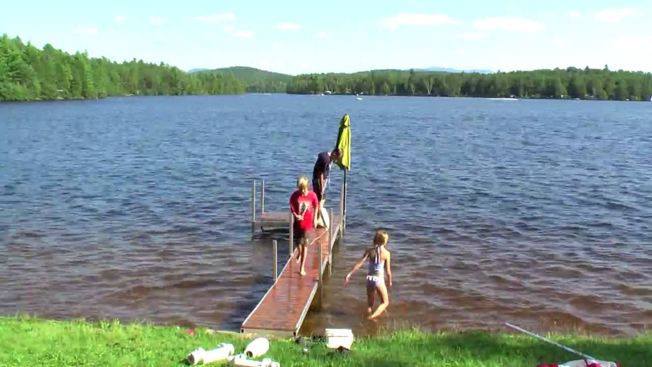 Putting in a portable dock at fish creek pond 2009 youtube for Portable koi pond