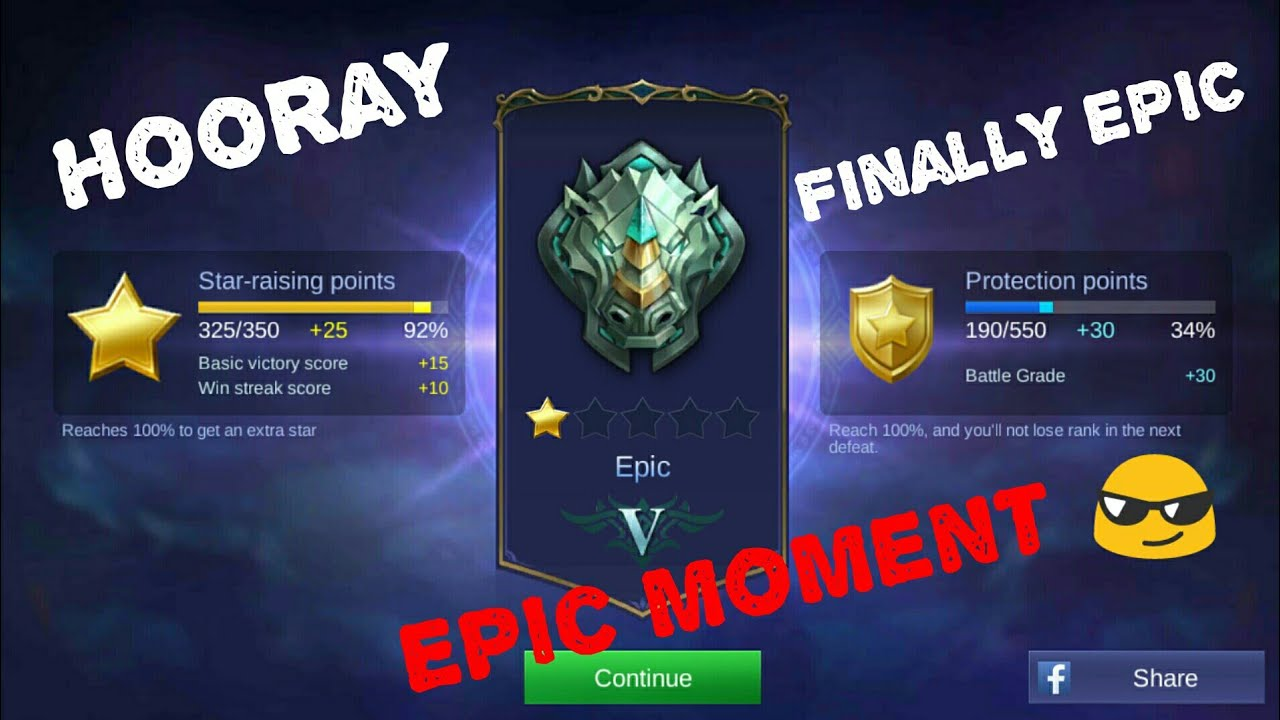 first time epic level star in mobile legends : bang bang