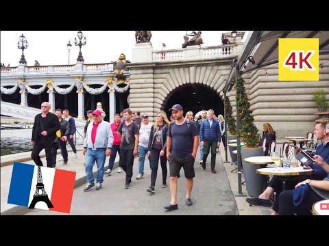 ⁴ᴷ Paris walking tour 🇫🇷 Riverside and bridges of La Seine, France 4K