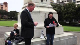 Protest Against Elephant Poaching - Speeches At Parliament - Wellington New Zealand - October 2013
