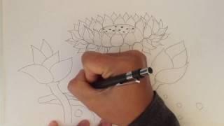สอนวาดดอกบัว How to draw lotus by nunny D1