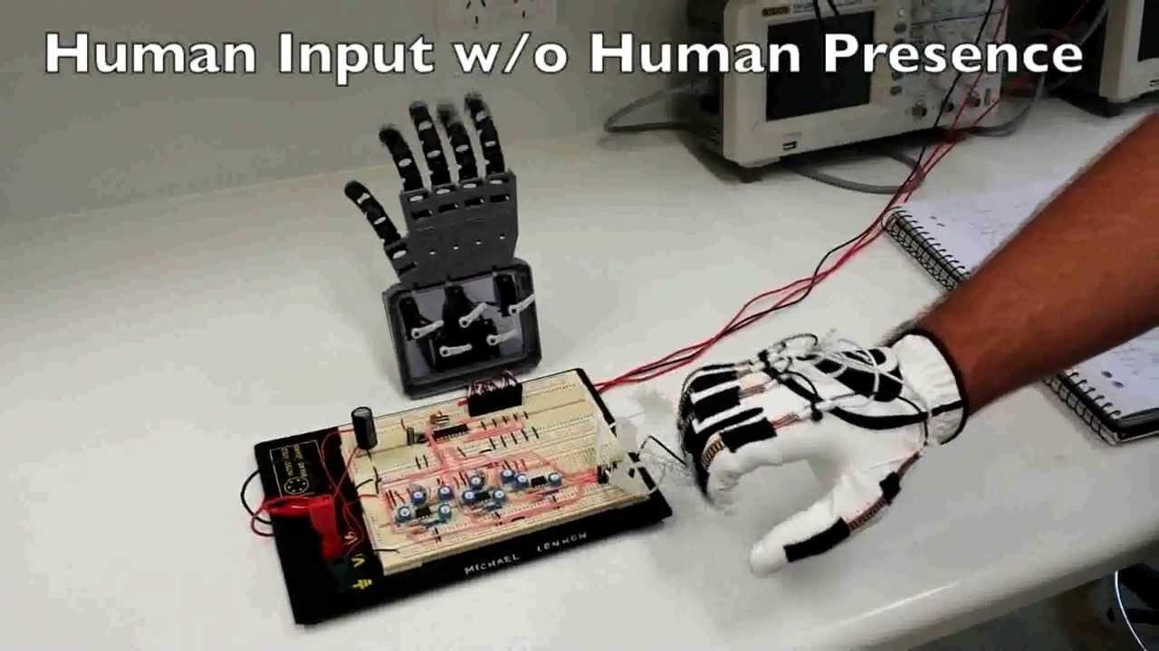Sensor Glove Driven Robot Hand Youtube