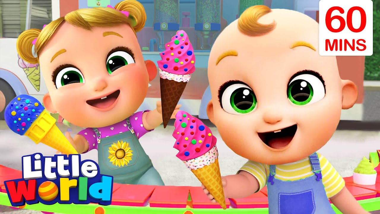 Ice Cream Song With Nina And Nico + More Little World Nursery Rhymes and Educational Songs