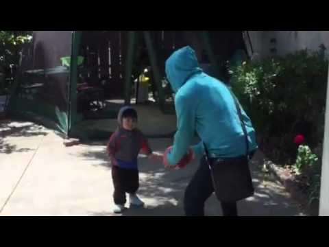 Kristoff Curiano plays ball with Dad