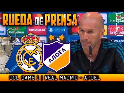 Real Madrid - Apoel Rueda de prensa de ZIDANE Champions (12/09/2017)