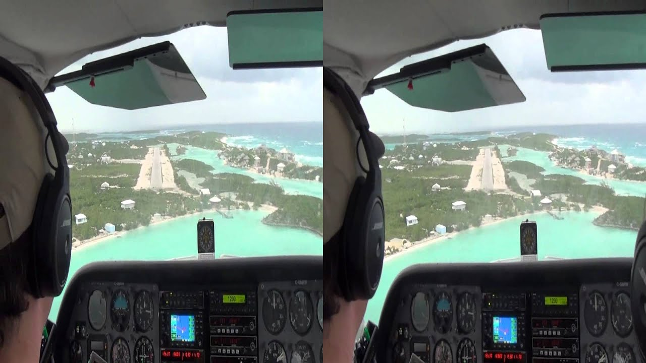 3D HD Cessna Bahamas Landing Staniel Cay with strong winds