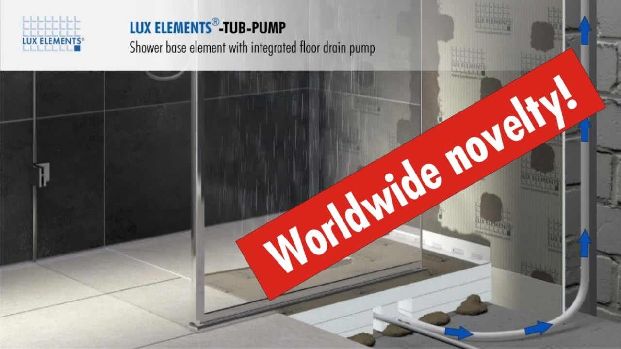 LUX ELEMENTS Product: Flush With The Floor Shower Base TUB PUMP With  Integrated Floor Drain Pump