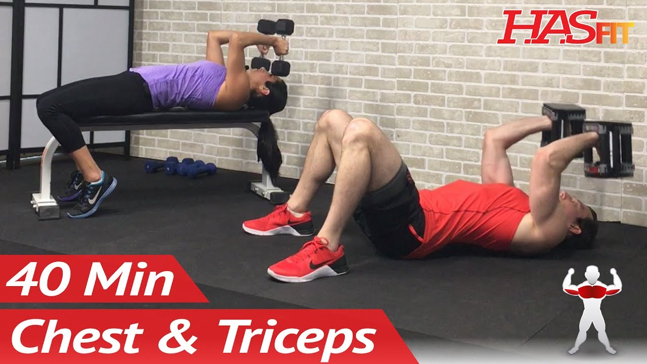 40 Min Chest And Tricep Workout At Home With Dumbbells Home Chest Triceps Workout Routine