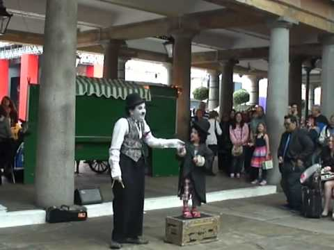 Charlie Chaplin live and kicking at Covent Gardens - London.