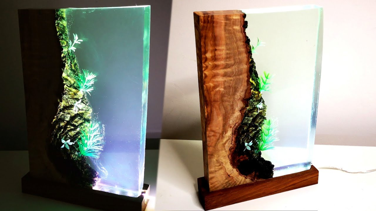 Epoxy Resin Night Lamp with Olive Wood - Resin Art