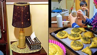 On a Weekday | DIY Table Lamp ( No Electricity needed ) | My lil chef in kitchen with me