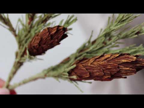 Еловые ветки с шишками из бумаги / DIY paper spruce branches and cones