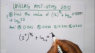UNILAG Post UTME Past Questions Solved (2010 Maths)