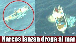 Narcos lanzan droga al mar y huyen de Militares