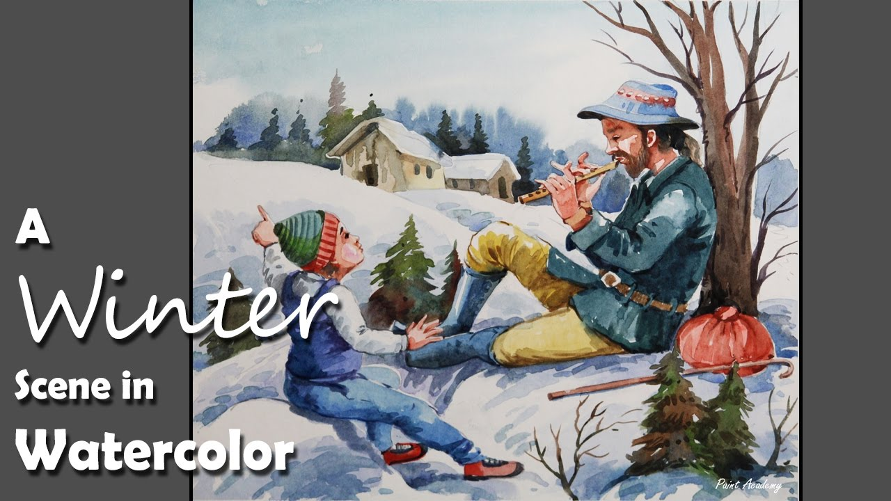 how to draw a winter scene step by step