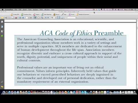 ACA Code of Ethics- Preamble