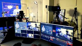Educational glass and chromakey.  Live training Studio. Curved light board.