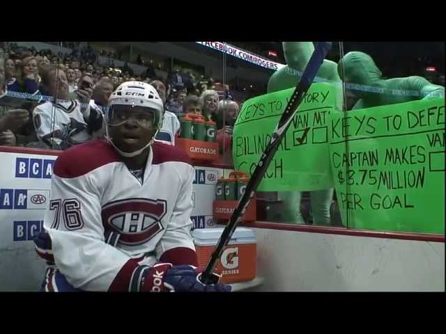 P.K. Subban gets an introduction to the Green Men
