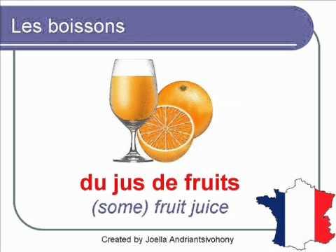 French Lesson 26 - DRINKS FOOD VOCABULARY - LES BOISSONS Vocabulaire - Bebidas En Francés
