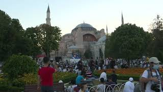 People gather outside Hagia Sophia for Eid al-Adha | AFP