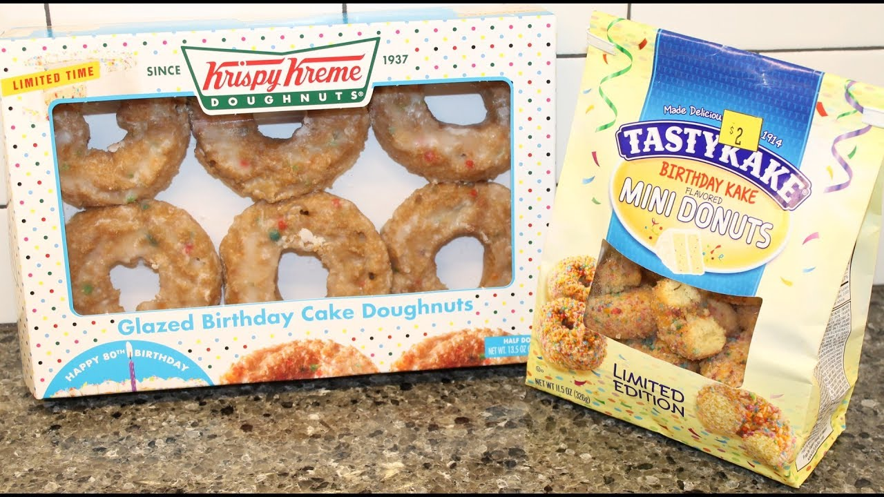 Tastykake Vs Krispy Kreme Birthday Cake Doughnut Comparison Youtube