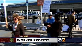 Plane Cabin Cleaners At LaGuardia Airport Strike Over Health, Safety Issues