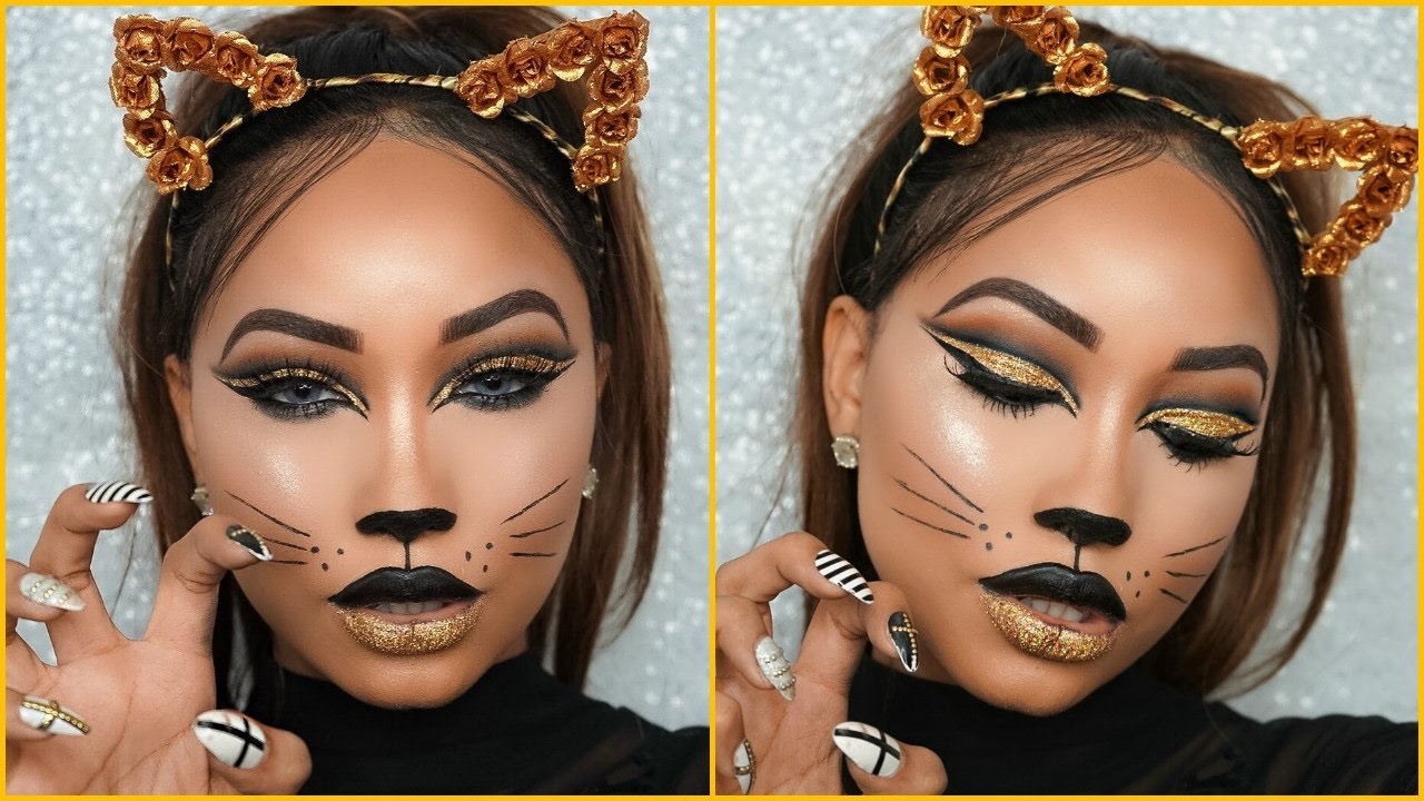 Halloween Full Glam | Cat Face Makeup - YouTube