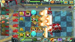 Plants vs Zombies 2: Far Future Day 22 Walkthrough