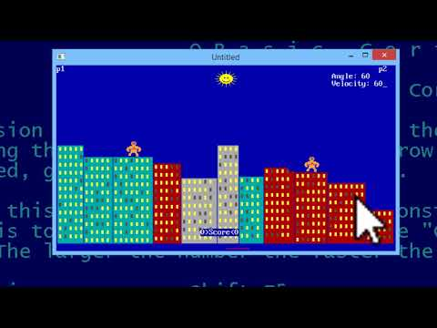 QBasic Tutorial 53 - Gorillas Nibbles OpenGL Games Other Program Examples QB64 Code Download