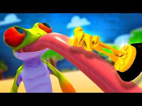 FROG WITH HUGE TONGUE LICKS GOLDEN TROPHY - FROG (Indie Game)