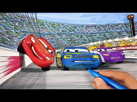 Draw CARS Lightning McQueen how to squeeze through Floyd. Drawing Coloring for Kids