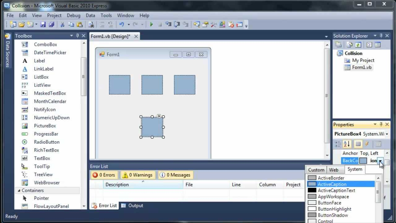 visual basic 2010 express collision detectionmp4 youtube