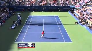 US Open 2013   QF  Wawrinka amazing smash   Stanislas Wawrinka vs Andy Murray