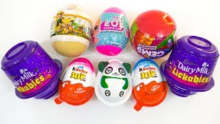 KINDER JOY AND OTHER SURPRISES | LICKABLES, GEMS, LOL, PANDA, DINOSAUR SURPRISE EGGS thumbnail