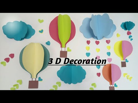 DIY Birthday Party Decoration| Paper Craft n Decoration| Cloud And Parachute Decoration| 3D backdrop