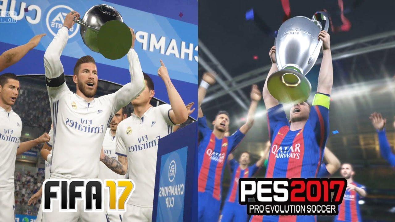 FIFA 17 vs PES 2017 UEFA CHAMPIONS LEAGUE FINAL Comparison