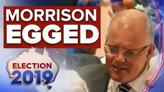 Prime Minister Scott Morrison egged by protester