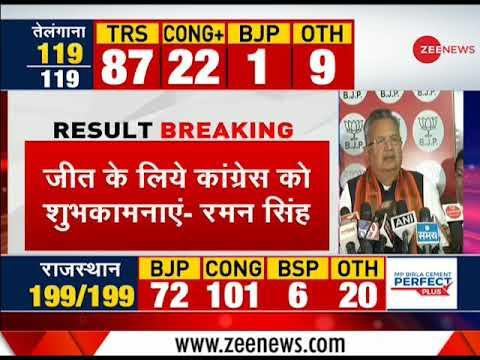 Chhattisgarh assembly poll results: Raman Singh congratulates Congress for victory