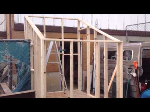 Chicken coop build 2 youtube for How to build a sloped roof shed