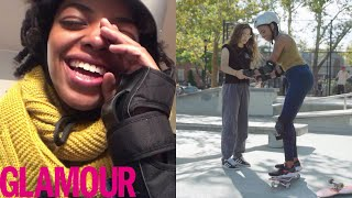 Learning to Skateboard and Ollie in 30 Days with Rachelle Vinberg | Glamour