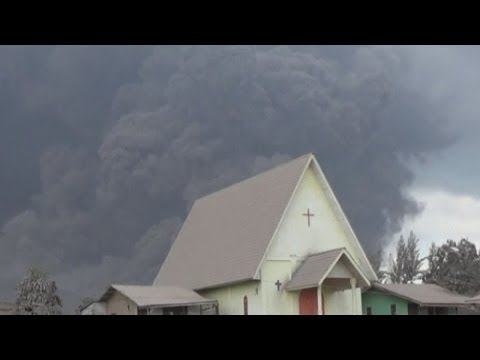 Volcano destroys crops and houses in Indonesia