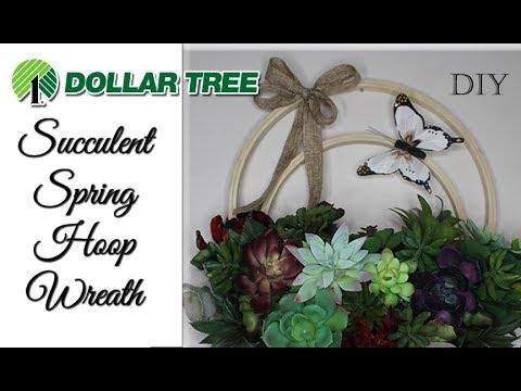 Dollar Tree Succulent 🌿 Spring Hoop Wreath DIY