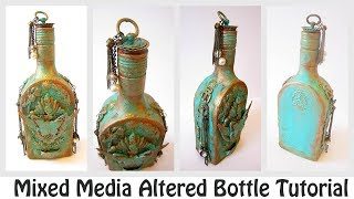 Mixed Media Altered Bottle Tutorial | How to Create Rust Effect? | Youtube Hop & Giveaway