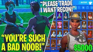 I Pretended I was a DEFAULT Skin, Then Showed My RECON EXPERT.. - Fortnite