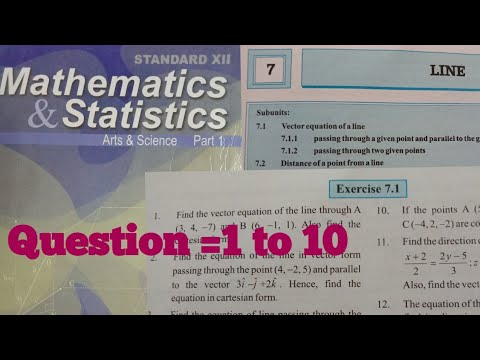 Line - Exercise 7.1,12th Maths1,HSC ,state Board Question 1 To 10