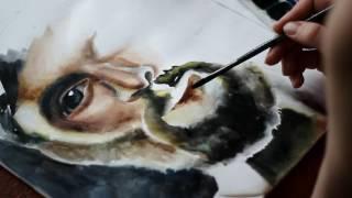Как рисовать акварелью поэтапно для начинающих - портрет мужчины