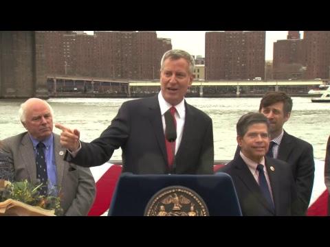 Mayor de Blasio Rides First NYC Ferry to Pier 1 in Brooklyn